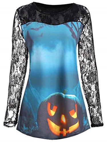 FISACE Women Plus Size Lace Insert Halloween Pumpkin T-Shirt Tops Blouse