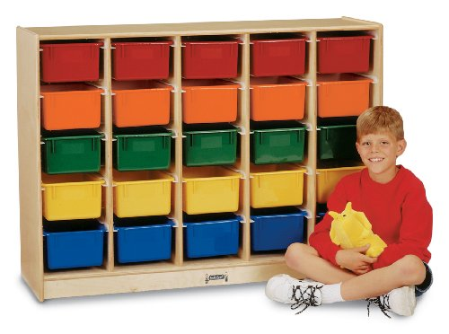 25 E-Z Glide Tray Mobile Cubbie With Colored Trays - School & Play Furniture