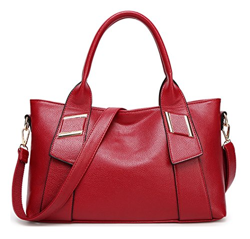 HopeEye mujer Tendencias de la moda Cuero De La Pu Bolso de mujer(dwpj04-5-Brown) 1-vino Tinto