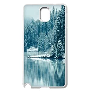 Vinceryshop Lake Samsung Galaxy Note 3 Case Pine Forest Lake Snow Unique for Guys, Samsung Galaxy Note3 Case Cases Unique for Guys [White]