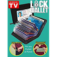 Lock Wallet RFID-Protected Leather Case for IDs and Credit Cards (Black)