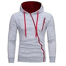 HTHJSCO Men's Eco Zip Hoodie Sweatshirt, Mens' Long Sleeve Hoodie Hooded Sweatshirt Tops Jacket Coat Outwear (Gray A, M)