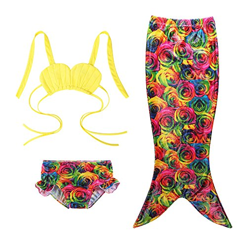 Tail Rose Yellow (TFJH E Girls 3PCS Princess Fish Scales Tail Swimsuit Bathing Suit Yellow Rose 100)