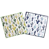 HOMU Cactus Drying Towels Dishcloths, Southwest Desert Theme Decorations for Kitchen, Bathroom, Nursery Room - Set of 2, Green and Blue