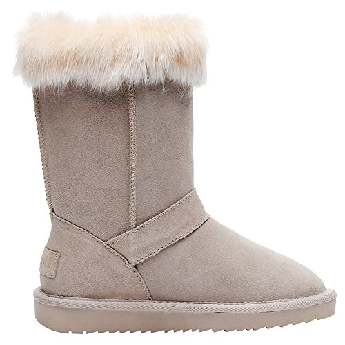 Wool Genuine Jamron Calf Snow Sand Women Boots Leather Mid Jamrom Warm Winter Fashion Lined Shearling Boots trPHwrq