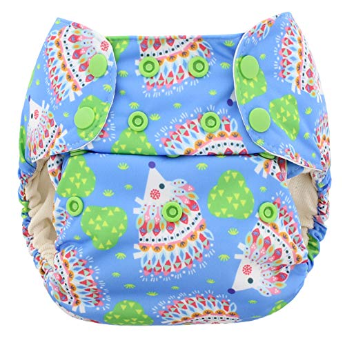 Blueberry One Size Simplex All in One Cloth Diapers, Made in USA (Hedgehogs)