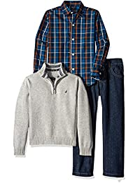 Boys' Three Piece Set with Zip Sweater, Woven Shirt, and Denim Pant