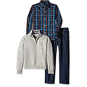 Nautica Little Boys' Toddler Three Piece Set with Woven Shirt Quarter Zip Sweater and Pant, Grey Heather, 2T