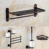 TY A Set of Four Products(Bathroom Shelf/Toilet Brush Holder/Toothbrush Holder/Towel Bar/Shower Basket) Of Oil Rubbed Bronze