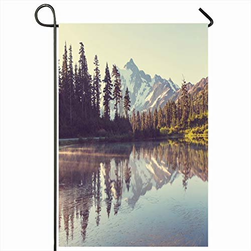 Ahawoso Garden Flag 12x18 Inches Rock Alpine Mount Shuksan Washington Nature State Peak Parks America Calm Cascade Design Summit Decorative Seasonal Double Sided Home House Outdoor Yard - Cascade Summit