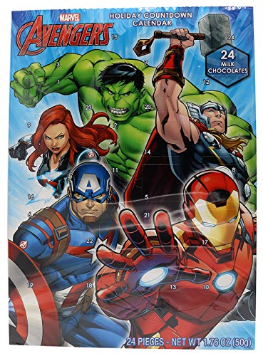 Marvel Avengers 2018 Christmas Advent Countdown Calendar with 24 Milk Chocolate Pieces, 1.76 oz