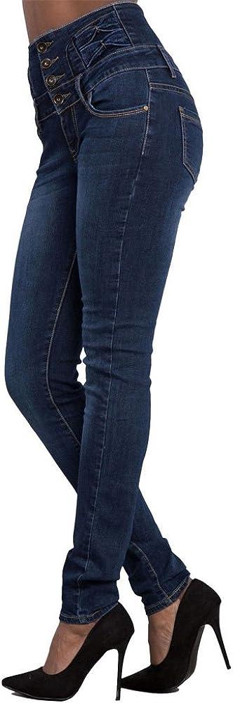 Minetom Donna Casuale Alta Vita Elastico Skinny Jeans Pantaloni Stretti Eleganti Leggings Lunghi Matita Pantaloni in Denim Pants