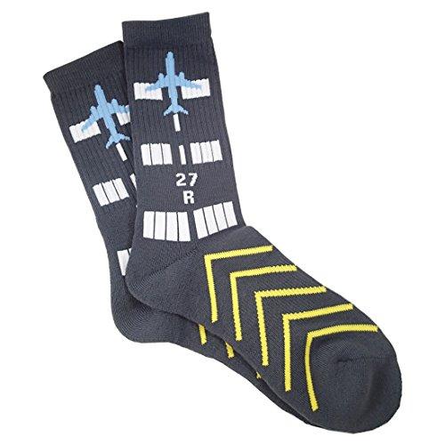 Runway Design, Aviation-Themed Premium Crew Socks 1-Pair