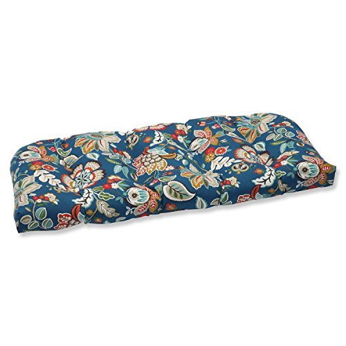 Pillow Perfect Outdoor Telfair Wicker Loveseat Cushion, Peacock ()
