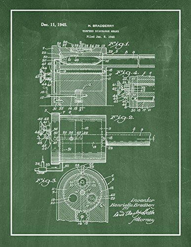Selection Torpedo - Torpedo Discharge Means Patent Print Green Chalkboard with Border (11