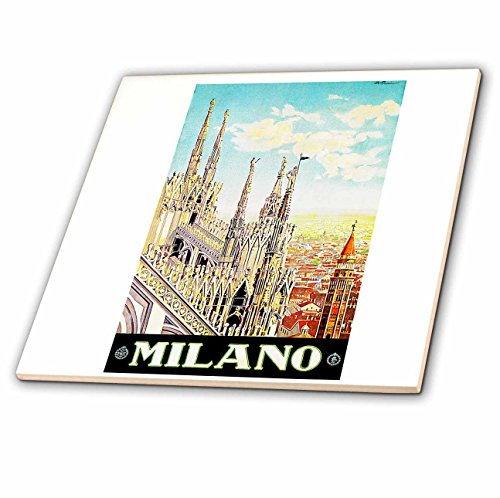 3dRose Vintage Milano Italy Italian Travel Poster - Ceramic Tile, 8-Inch (ct_126037_3) by 3dRose
