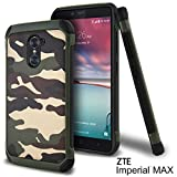 zte imperial ii trident - ZTE Imperial Max Case, ZTE Grand X Max 2 Case, ZTE Kirk Case, ZTE Max Duo LTE Case, Celljoy [Shock Armor] [[Shockproof]] HybridImpact Resistant Bumper Premium - Thin Hard Cover (Camo Green)