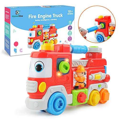 Gizmovine Fire Truck Toy for Boys with Lights and Music,Inertial Construction Toys Trucks for Kids Infant Toddler 1, 2 ,3 Year - Gift Wrap Fire Truck