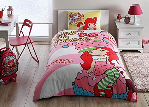 Strawberry Shortcake Cute Bedding Duvet Cover Set New Licensed 100% Cotton / S. Shortcake Twin Size Duvet Cover Set / S. Shortcake Bedding Set 3 ()