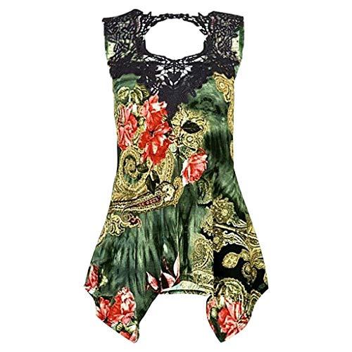 85bd7c854 TOPKEAL Women Sleeveless Lace Irregular Casual Blouse Print Vest Retro  Shirt Sexy Tops Green