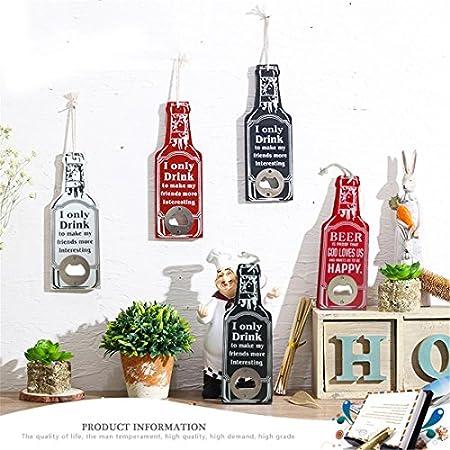 Katigan Rojo Ornamento Colgante de Pared Creativo Palabras I Only Decoracion de Tienda Restaurante Bar de Madera Retro abrelatas de Cerveza sacacorchos multiproposito abrebotellas