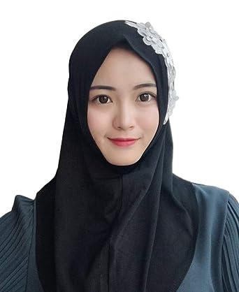MEYINI Musulmán Hijab Wrap - Bufanda de Cabeza árabe Pañuelo de Flor de Encaje con pañuelo de Tapa Completa Chaleco islámico: Amazon.es: Ropa y accesorios