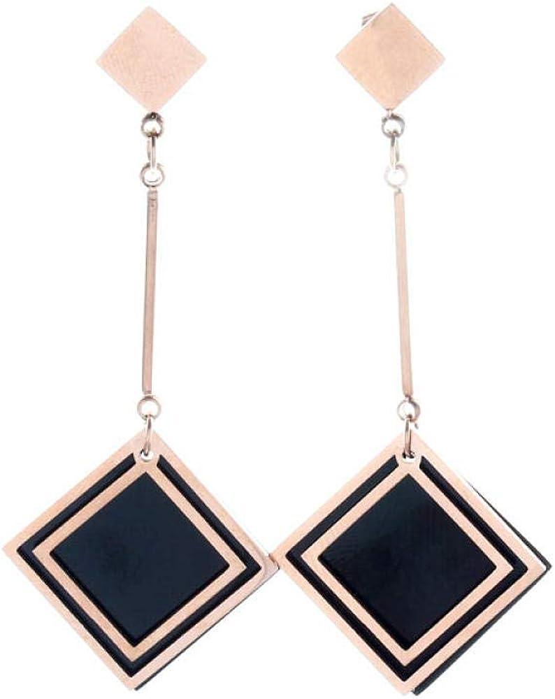 Pendientes Temperamento Cuadrado De Diamante Negro Pendientes Avanzados De Acero De Titanio Pendientes Largos Joyería De Mujer