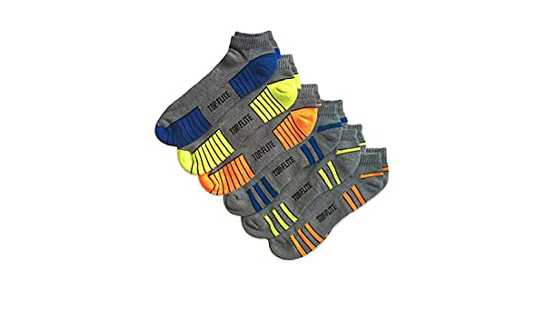 Top Flite Mens Cotton Wool Multi Performance Outdoor Sports Hiking Cushion Moisture Wicking Boot Socks 6 Pair Pack Sock Size 10-13 - Shoe Size 9-13, Grey