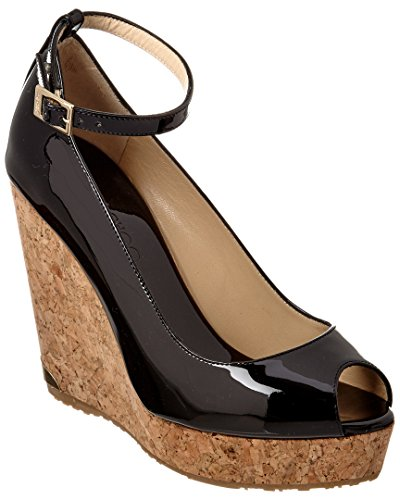Jimmy Choo Gold Sandals (Jimmy Choo Pacific 120 Patent Wedge, 39.5)