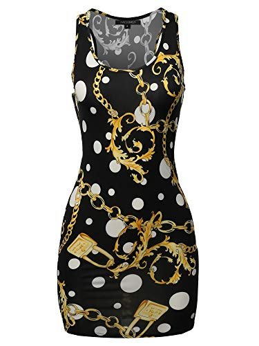 Floral or Camouflage Printed Sexy Body-Con Racer-Back Mini Dress Black Gold L