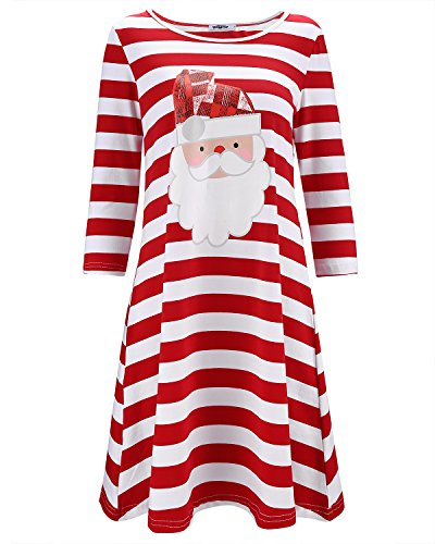 Christmas Apparel - STYLEWORD Women's Three Quarter Sleeve Christmas Dress Stripe Elk Casual Dress(Floral02,XL)