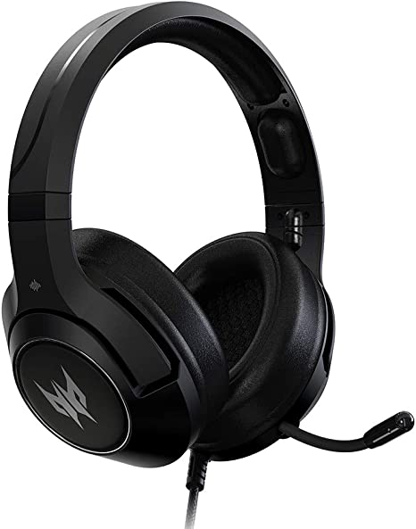 Retractable Noise Cancelling Mic On-Cable Controls Acer Predator Galea 350 7.1 Surround Sound Gaming Headset: 50mm Neodymium Drivers Black