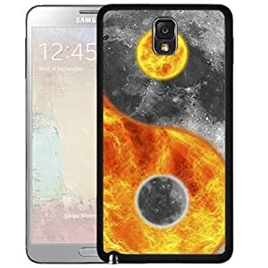 Fire And Moon Ying Yang Hard Snap On Cell Phone Case Cover (Samsung Galaxy Note III 3 N9000)