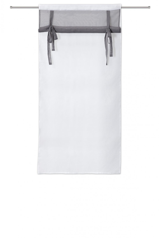RideauDiscount Voilage Vitrage 80 x 160 cm Passe Tringle Store Enrouleur Blanc Gris