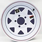 14'' x 5.5'' White Spoke with Red and Blue Pin Stripe Trailer Wheel (5-4.5'' Bolt Circle) with Center Cap and Valve Stem