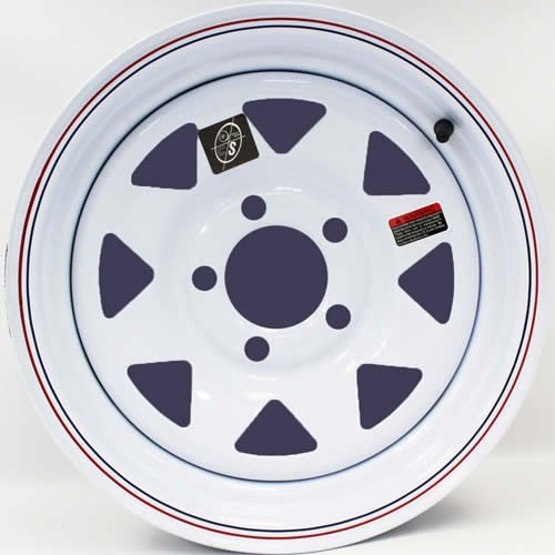 14' x 5.5' White Spoke with Red and Blue Pin Stripe Trailer Wheel (5-4.5' Bolt Circle) with Center Cap and Valve Stem Southwest Wheel