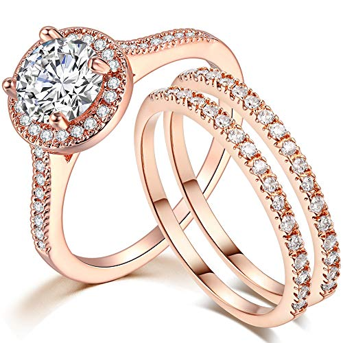Kingray Jewelry Silver Rose Gold 1.5 Carat Cubic Zircon Wedding Engagement Promise Anniversary Eternity Bridal Ring Set (Rose Gold, 7)