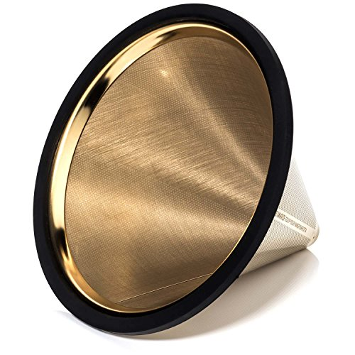 TITANIUM COATED GOLD Pour Over Coffee Filter - Reusable Stainless Steel Drip Cone for Chemex, Hario V60, Carafes and Other Coffee Makers by Barista Warrior (Image #2)