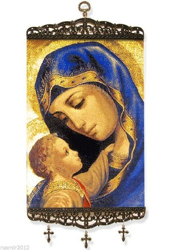 Madonna and Child Large Icon Banner with 3 crosses Tapestry Textile Art 17'' by World Gifts