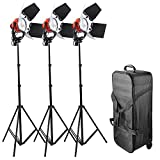AW Photo Studio Tungsten Film Video Lighting Kit Rolling Case 3x 800W Dimmable 3200K Red Head Continuous Lighting Kit