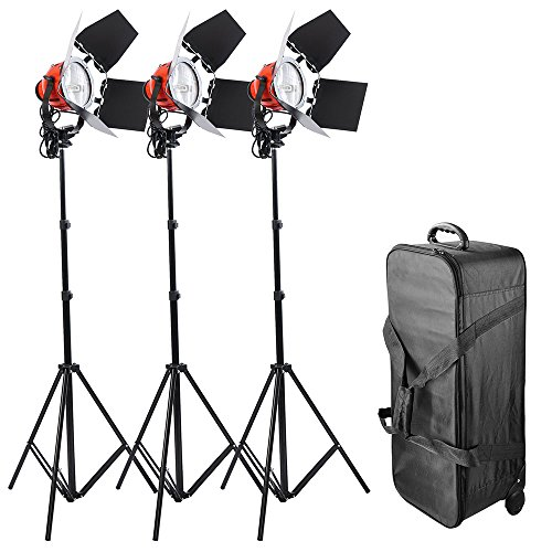 AW Photo Studio Tungsten Film Video Lighting Kit Rolling Case 3x 800W Dimmable 3200K Red Head Continuous Lighting Kit by AW