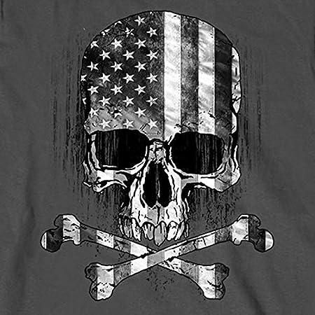 Charcoal, XXX-Large Hot Leathers Mens Long Sleeve Flag Skull Shirt GMS2391-9938