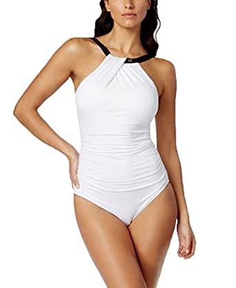 8c3f6d3a25 Image Unavailable. Image not available for. Color: Calvin Klein Women's  White/Black Twist-Neck One-Piece Swimsuit ...