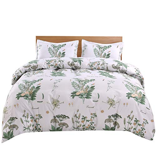 YMY Lightweight Microfiber Bedding Duvet Cover Set, Colorful Floral Pattern (Green Flower, Twin) (Green Twin Duvet)