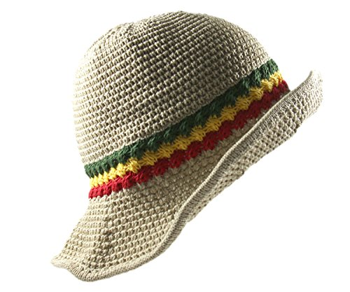 RW Knitted Crochet Fordable Hat With Flexible Wire Big Brim (Beige/Rasta)