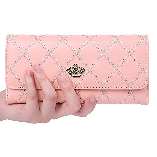 Women Fashion PU Leather Wallet Zip Around Purse Long Handbag (Pink) - 4