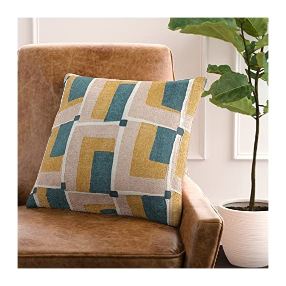 """Rivet Mid-Century Geo Print Cotton Decorative Throw Pillow, Soft and Stylish, 17"""" x 17"""", Blush - Bring mid-century flair into your home with retro prints and colors. Patterns of blush, green, gold and ivory add a cheerful, interesting update to couch, chair or bed. For a quick change-up, reverse it to the solid blush linen-look back. 17"""" x 17"""" Front: Cotton; Back: Polyster - living-room-soft-furnishings, living-room, decorative-pillows - 51lqrWW47hL. SS570  -"""