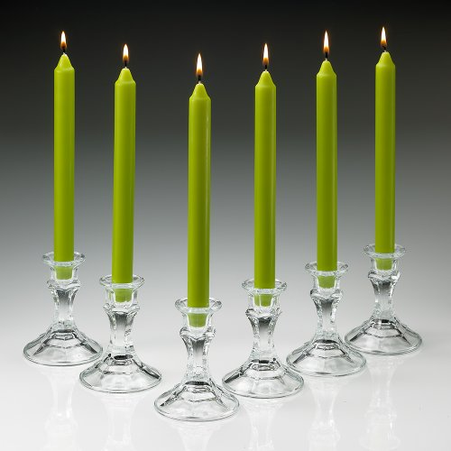 UPC 610708167808, Elegant Fresh Green Unscented Taper Candles 10 Inch Tall 3/4 Inch Thick Set of 10 Burn 8 Hours