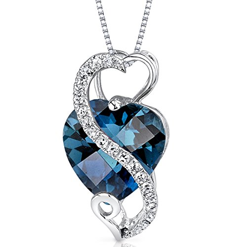 14 Karat White Gold Heart Shape 2.99 carats London Blue Topaz Diamond Pendant