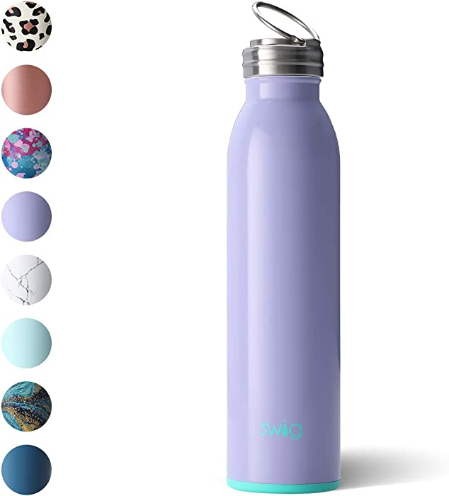 Swig Life 20oz Triple Insulated Stainless Steel Water Bottle with Ring Flip Handle, Dishwasher Safe, Double Wall, Vacuum Sealed Reusable Water Tumbler (Multiple Patterns Available)